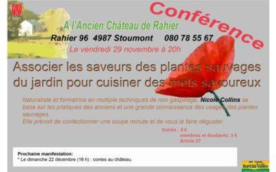 Conférence sur les plantes sauvages de Nicole Collins à l'Ancien Château de Rahier